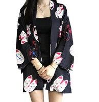 2018 summer Harajuku Women Japanese Kimono Printed Bat Sleeve Loose Cardigan Sun Protection Blouse cosplay costumes black/red