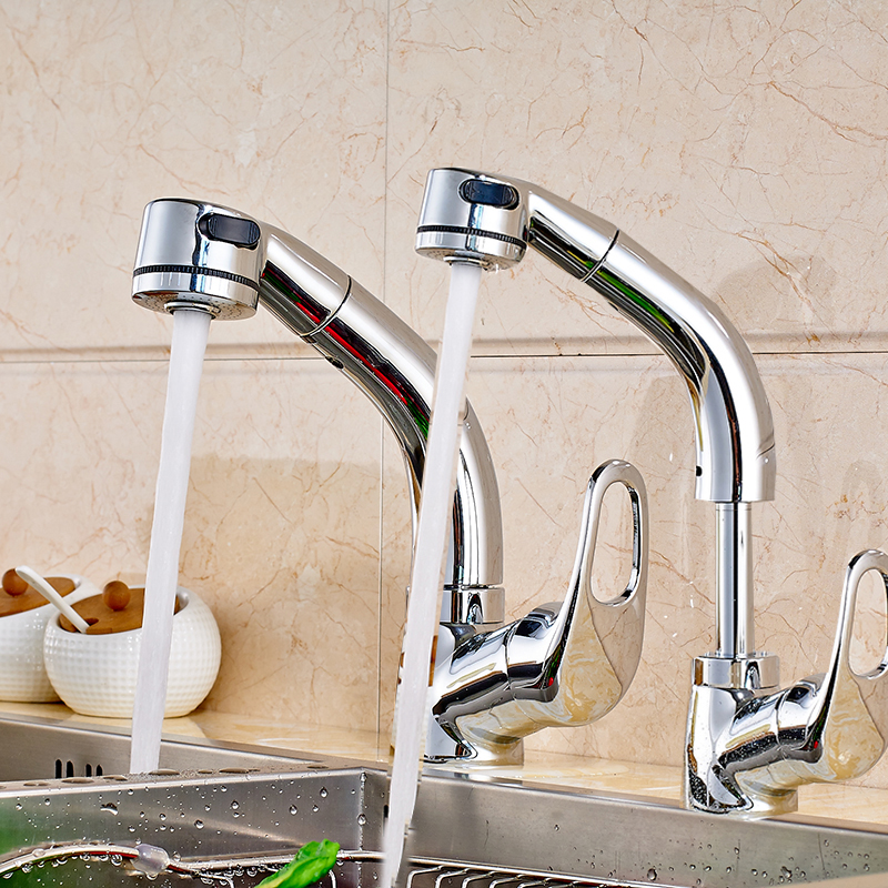 Chrome Polished Kitchen Sink Faucet Single Handle Pull Out Mixer Tap Deck Mount цена и фото