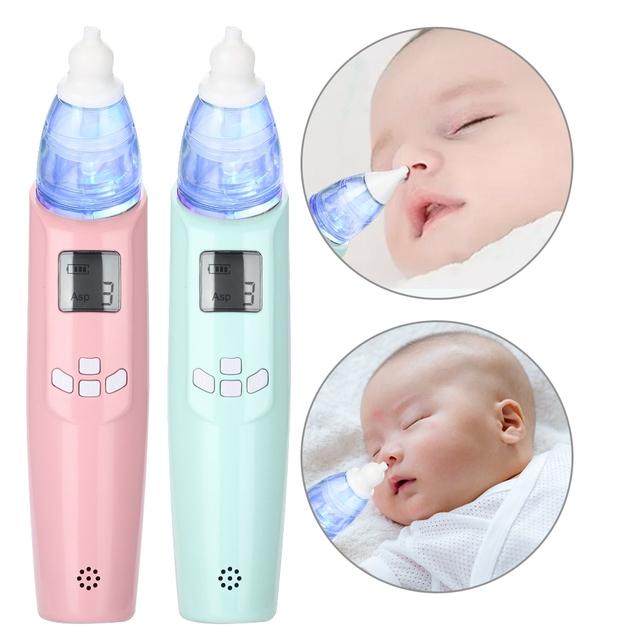 Elektryczny Aspirator do nosa bezpieczny dla dziecka która pozwala na stosowanie go w strefach aseptycznych czyścik do nosa dla dzieci śluzu Cleaner nos zmywarka z miękkie światło LED gładka muzyki tanie i dobre opinie TMISHION Nasal Aspirator Pink Light Blue ABS PP PC 2 * AA Batteries (Not Included)