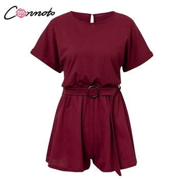 Conmoto Solid Casual 2019 Summer Women Playsuits Romper Beach Belt Tie Loose Female High Fashion Cotton Playsuit 6