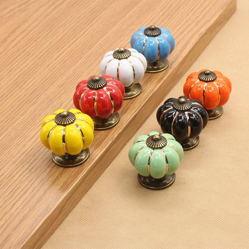 Furniture Colorful Pumpkin Handle Ceramic Door Knobs Cabinet Drawer Cupboard Pulls Furniture Accessory Home Deocr