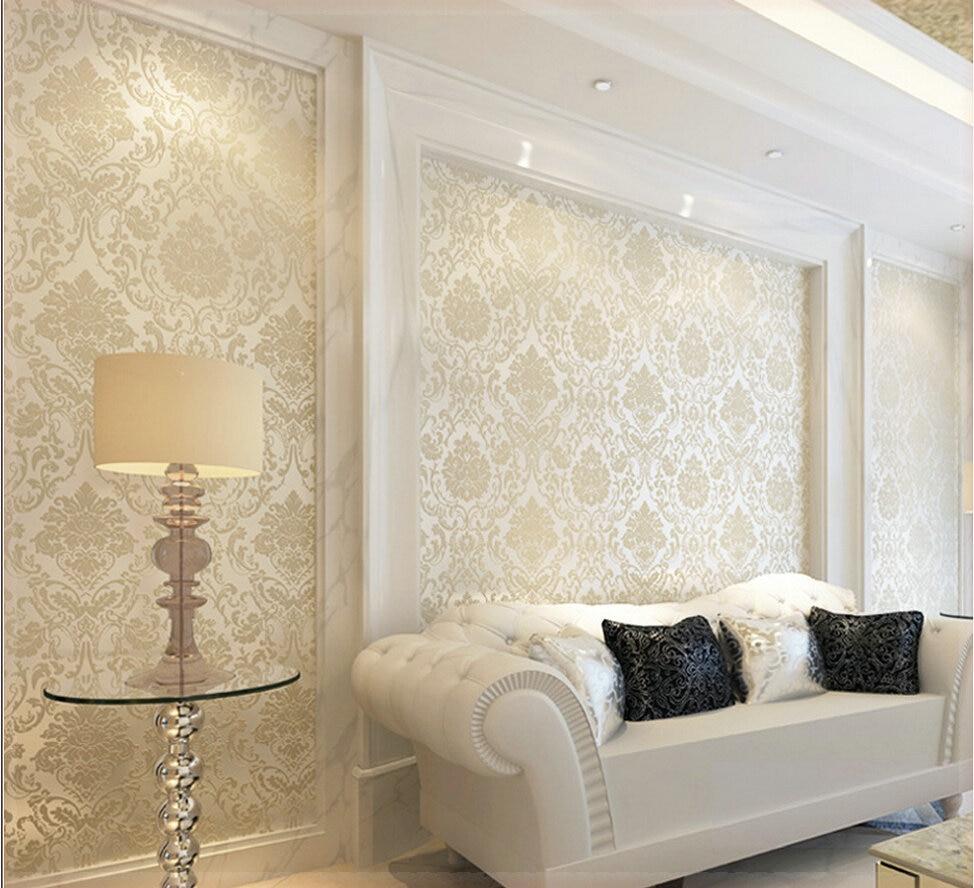 Cheap sales 3d luxury european flock non woven wallpaper for Cheap wallpaper for walls