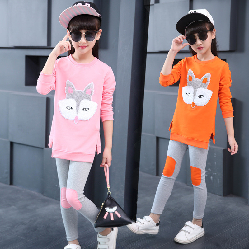 Girls Clothing Sets Autumn Long Sleeve T-shirt+Pants Tracksuit Cotton Clothes Suit Children's Sports Suits Teenage Girl Costumes retail girls baby clothes little cow modeling clothes 100% cotton casual t shirt pants suit tracksuit 2