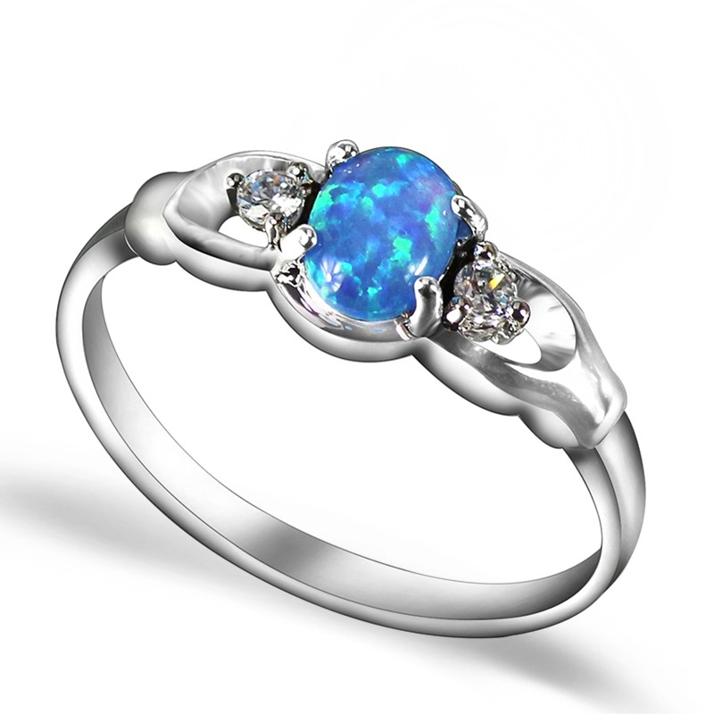 JZ0088 Gorgeous Silver Plated Blue Opal Rings For Women New Fashion Hot Sale Brand Jewelry Top Quality Finger Rings for Lady