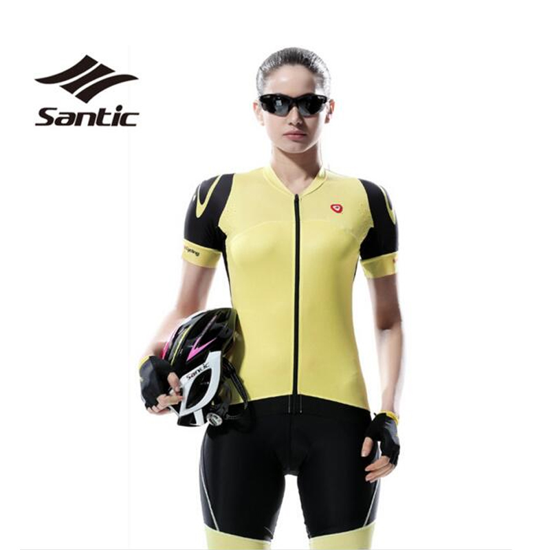 SANTIC Professional Women Cycling Clothing Kit Sets Short Sleeve Cycling Bicycle Bike Jersey Padded Shorts Feminina Female S-XL