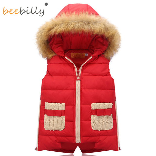 Girls Vests Children's Down Warm Vest Girl Fashion Waistcoat High Quality Kids Faux Fur Collar Vest Outerwear 5-10 Years C97