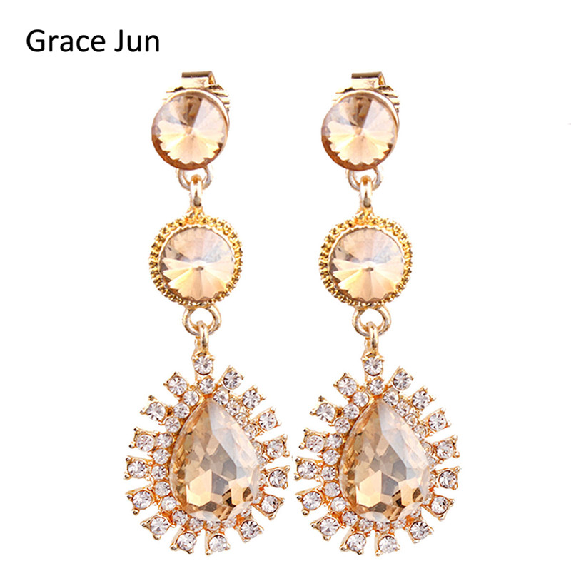 Grace Jun New 7 Colors Choose Austrian Crystal Clip on Earrings Non Piercing for Women Elegant