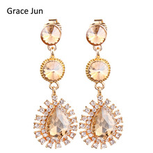 Grace Jun New 7 Colors Choose Austrian Crystal Clip on Earrings Non Piercing for Women Elegant Waterdrop  Earrings Bijouterie