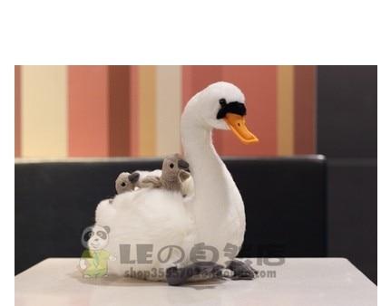 2018 nouveau cygne blanc poupée cygne mère et enfant en peluche et canard noir simulation jouets en peluche