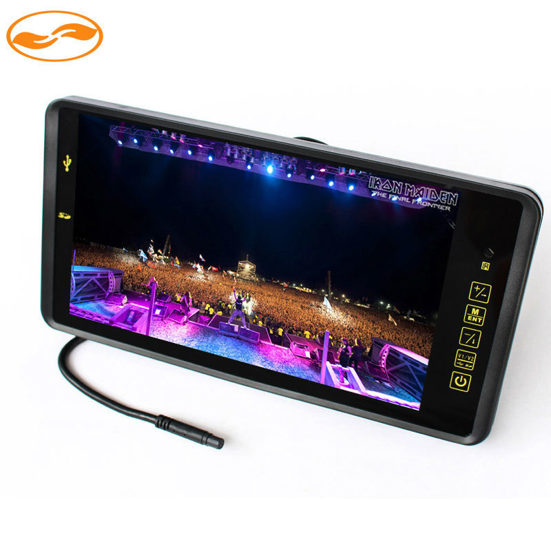 9 TFT LCD Color 800*480 Car Monitor Screen with Remote Support 2CH Video Input MP5 USB SD Card For Rear View Camera 5 0 inch car monitor tft lcd 800 480 digital color screen 2 way video input for rear view backup reverse camera dvd vcd dc 12v