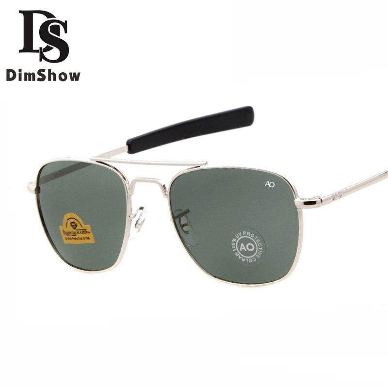 Dimshow Fashion Aviation Sunglasses Men Brand Designer AO Sun Glasses For Male American Army Military Optical Glass Lens Oculos