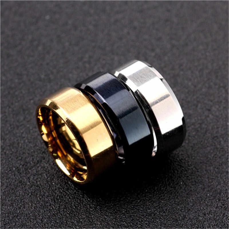 3 สีรุ่นแหวนผู้ชายไทเทเนียมสีดำ Gold Anti-allergy Smooth งานแต่งงานแหวนคู่ Bijouterie สำหรับ Man หรือของขวัญผู้หญิง