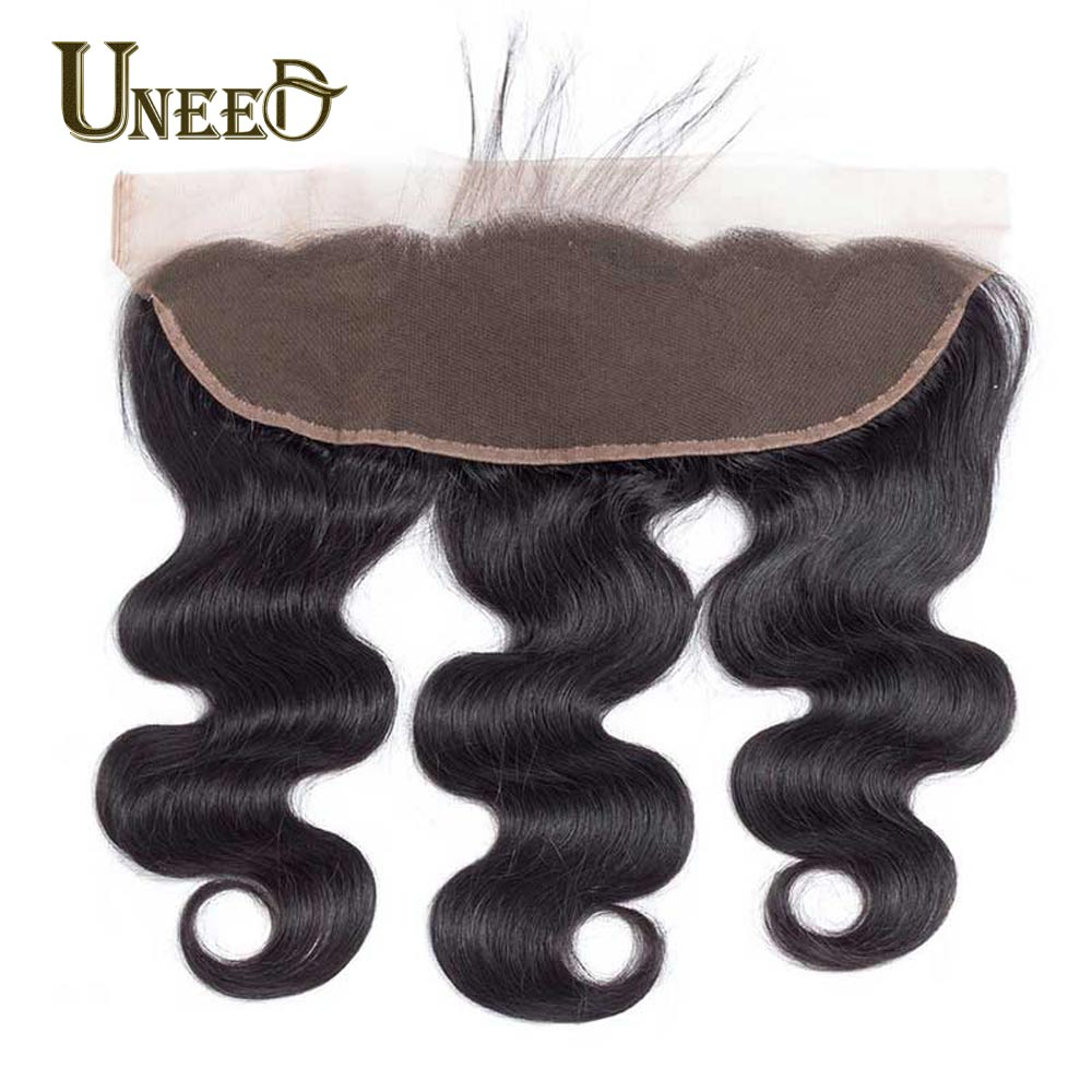 Uneed Lace Frontal Closure With Baby Hair One Bundle Malaysian Body Wave Remy Hair 13x4 Inch Ear To Ear Human Hair Pre Plucked