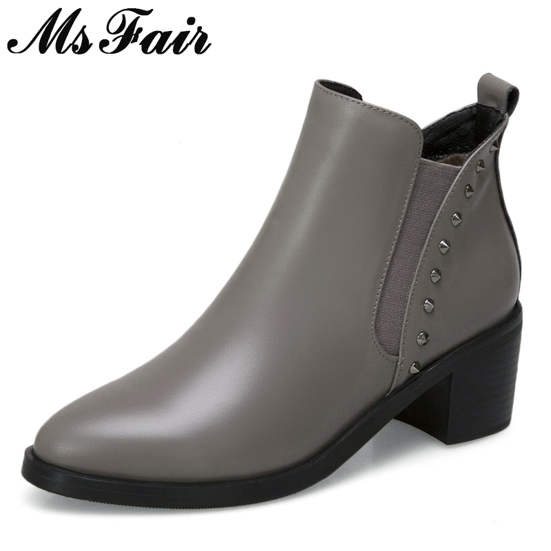MSFAIR Women Boots 2018 Fashion Metal Rivet Ankle Boots Women Shoes Pointed Toe High Heel Boot Shoes Square Heels Boots For Girl msfair women boots 2018 hot selling crystal ankle boots women shoes pointed toe high heel boot shoes square heel boots for girl
