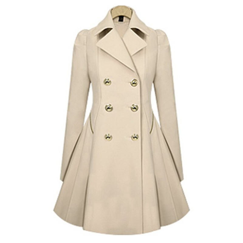 507bcaeb764 New Women Long Trench Coat Notch Lapel Double Breasted Formal Button Up  Ruffle Pea Coat Ladies Casual Parka Outfit Plus Size-in Basic Jackets from  Women s ...