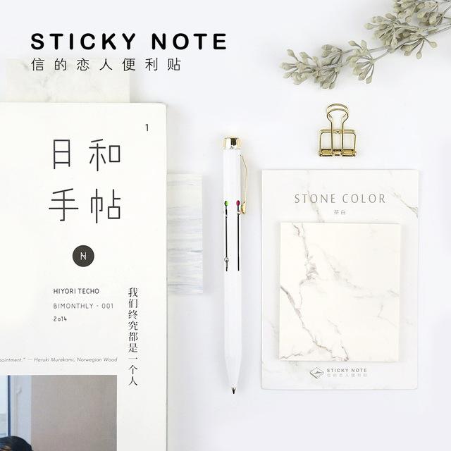 1 Unids Creativo Japonés Piedra De Mármol de Color Nota Adhesiva Bloc De Notas Post-It de Oficina Material Escolar Papelería Planificador de Papel Adhesivo