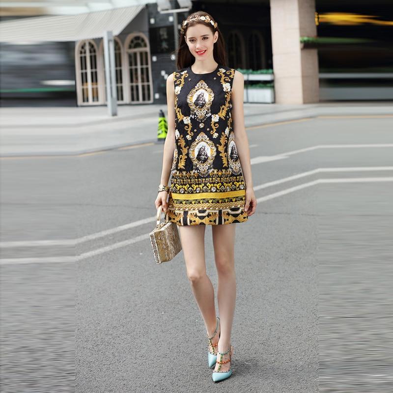 Diamants Manches Robe Dessus D'o Style De Réservoir Imprimer Du Femmes 2018 Vintage D'été Europe cou Dernière Arrivée Mode Sans Genou Nouvelle nwOP0k