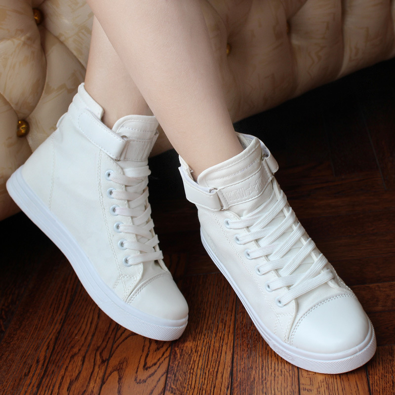 High Top Women Casual Shoes Fashion White Flat Canvas Shoes Female Basket Lace Up Solid Trainers