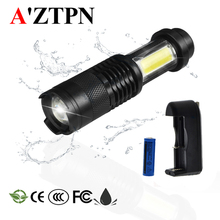 LED Flashlight Side COB Lamp Design Zoomable Torch  1000Lumens 4Modes Tactical