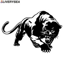 SLIVERYSEA Fiery Wild Panther Hunting Car Body Decal Stickers Motorcycle Decorations Black/Silver #B1140