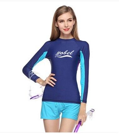 Femmes Deux pièces Rash Guard Protection UV à manches longues Crop Top Surf Maillot de bain