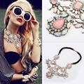 Luxury fashion new women sweet Bohemia crystal alloy  pink flowers necklace Pendant Chain Choker Bib Statement Necklace