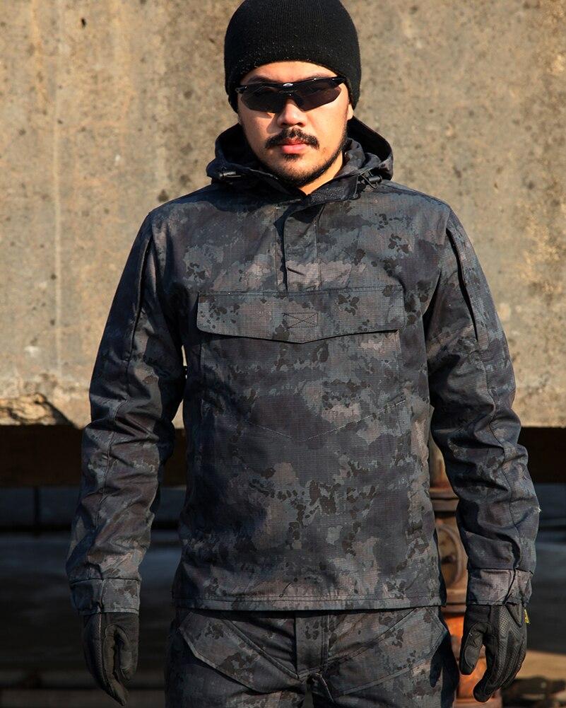 Tactical Camuflaje Caza Abrigos Hombres Chaqueta Con Capucha A Prueba de Viento