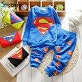 Весна и Осень Baby boy hero Супермен досуг детей хлопок костюм для детей девушки с длинными рукавами Футболки + брюки набор бесплатная доставка