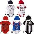 6 Peças Conjuntos de Bebê Por Atacado Bebê Recém-nascido Meninos Bodysuits + Cap Baseball Basquete Bebê Bodysuits Macacões Verão 2016 V20