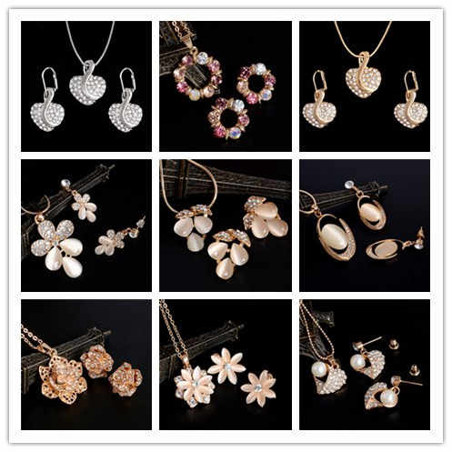 Hot Selling Crystal Jewelry Set Bridal Wedding Jewelry Set Gold/Silver Plated Necklace Earring Set Women Brilliant Jewelry