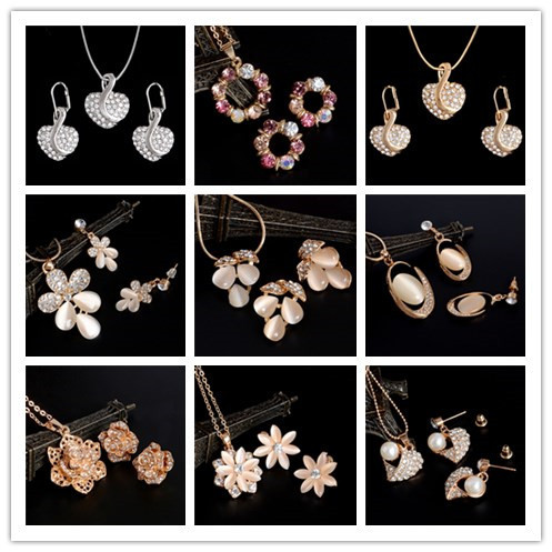 Hot Selling Crystal Jewelry Set Bridal Wedding Jewelry Set Gold/Silver Plated Ne