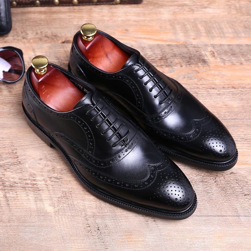 Genuíno Italiano Homens Preto Vinho Elegante Mycolen Do Trabalho Negócios Estilo Bullock De Oxford Vintage Couro vermelho Sapatos Para Vestir Carving qwp6xIA