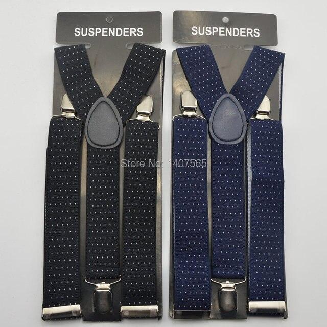 295d082344e Mens Suspender 3.5cm women Big plussize Suspenders black navy blue dot 3  Clip-on