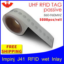 UHF RFID תג מדבקת Impinj J41 רטוב שיבוץ EPC6C 915mhz868mhz860 960MHZ Higgs3 5000pcs freeshipping adhensive פסיבי RFID תווית