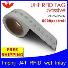 UHF RFID tag sticker Impinj J41 wet inlay EPC6C 915mhz868mhz860 960MHZ Higgs3 5000pcs freeshipping adhensive passive RFID label