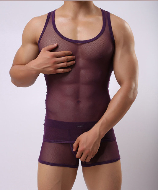 Undershirt sets men's transparent comfortable breathable undershirt sexy vest borad shoulder Ultra-thin vest set plus underpants
