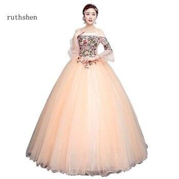 0b3550db65ec856 Ruthshen Мода лодочка шеи в наличии Дебютант платье для выпускного с  аппликацией рюшами сладкое 16 роскошное бальное платье пышные платья для ве.