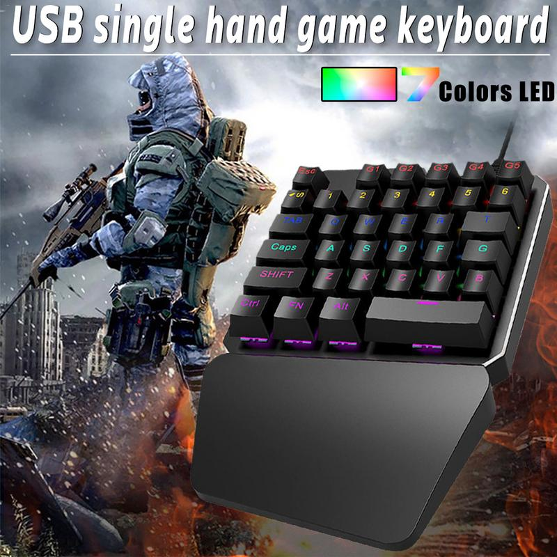 7 Colors LED 35 keys Backlight Single Hand Professional Gaming Keyboard USB Wired Anti-Ghosting Keyboard For Game 7 colors led backlight single hand professional gaming keyboard usb wired anti ghosting keyboard for game