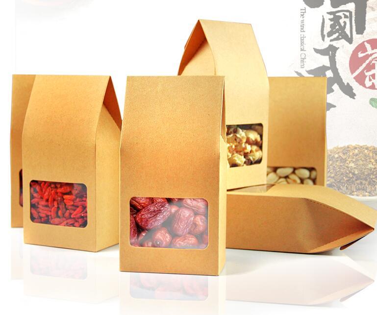 8*5*15.5cm Small kraft food/tea packaging box,coffee bean Baking dessert packaging paper bag,kraft paper pvc window box