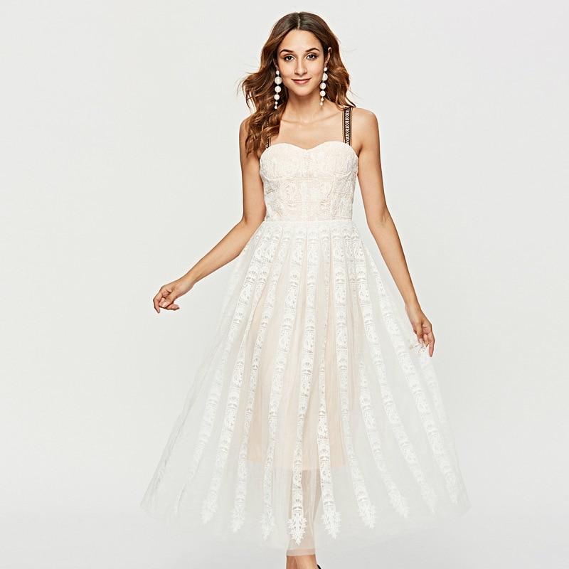 New Female Embroidery Lace Strap Dress High Quality Summer White Large Pendulum Beach Holiday Midi Sukienka