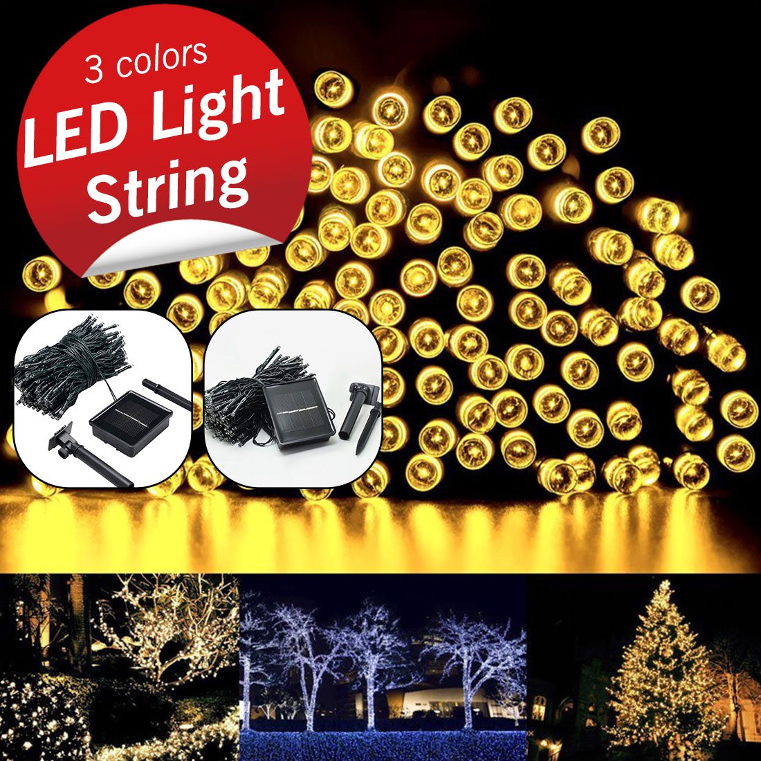 Lights & Lighting Fairy Light 7m/12m/22m Waterproof Solar Powered Light Christmas Street Garland Led String Strip Light Outdoor For Garden Wedding Pure White And Translucent Led Lighting