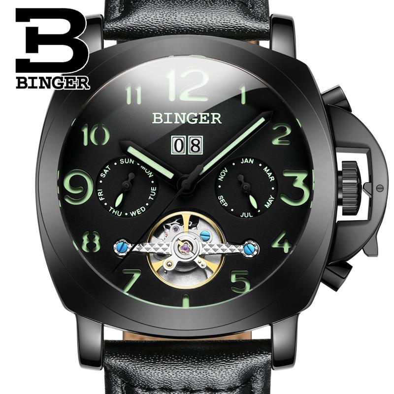 2018 Switzerland luxury Men's watch BINGER brand Mechanical Wristwatches multifunctional military Stop clock B1169-4 binger 100