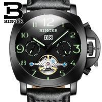Isviçre lüks marka erkek saati BINGER otomatik mekanik saatler çok fonksiyonlu askeri Stop aydınlık adam saat B1169 4|Mekanik Saatler|Saatler -