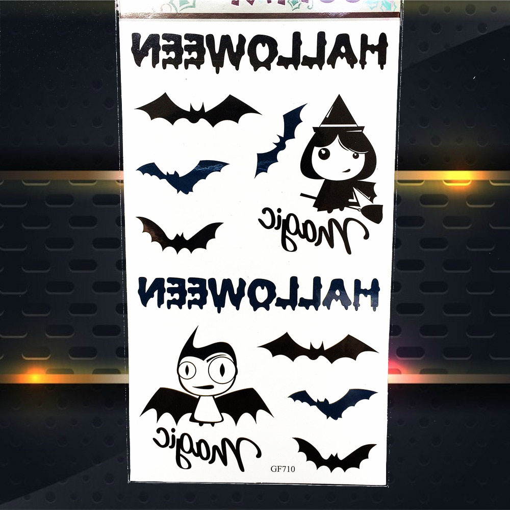 Hitam Halloween Tahan Air Temporary Tattoo Stiker Sayap