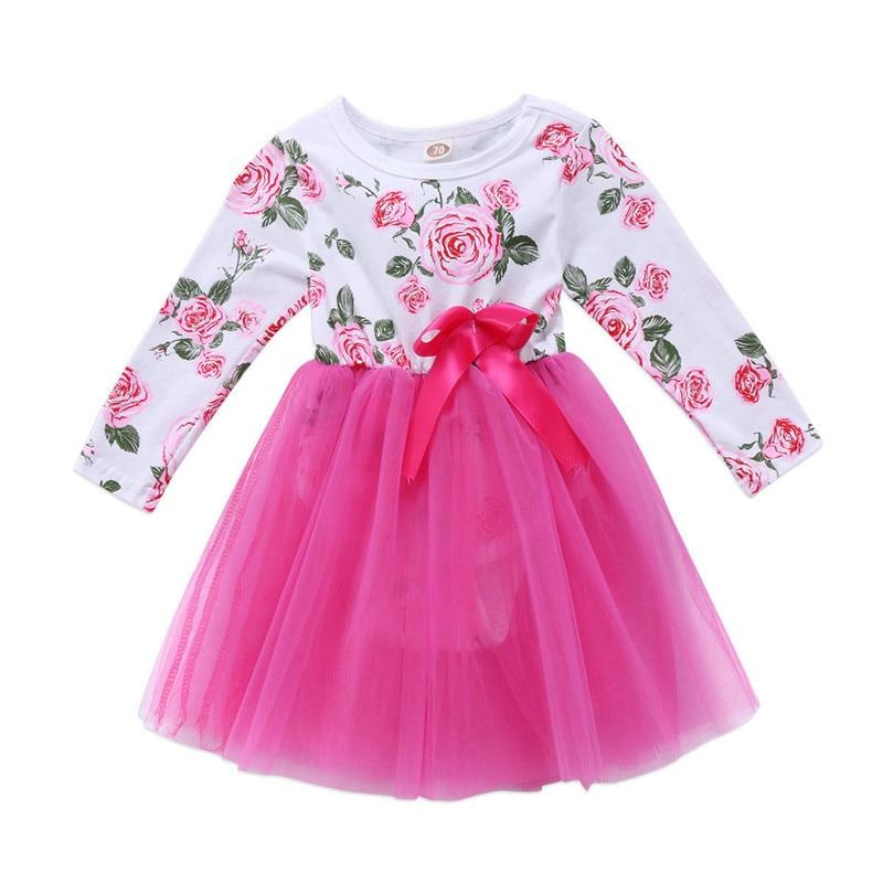 UK Hot Wholesale Newborn Baby Girl Long Sleeve Floral Tutu Dress Bodysuit One Piece Bowknot Princess Bodysuit Girl Clothes 0-24M