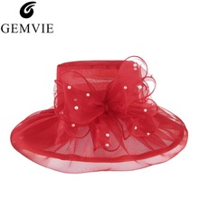 Summer Large Brim Sun Hats Women Big Flower Beads Organza Fashion Women Sun Hat Beach Cap Wedding Derby Church Hat
