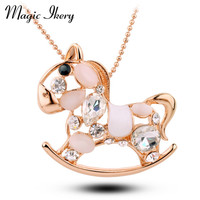 Magic Ikery Fashion Cat S Eye Horse Necklace Color Crystal Animal Cartoon Stud Women S Jewelry