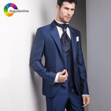 цена на Navy Blue Formal Men Suits Slim Fit Wedding Tuxedos 3 Pieces (Jacket+Pants+Vest) Groom Wear Prom Suits Terno Masculino Blazer