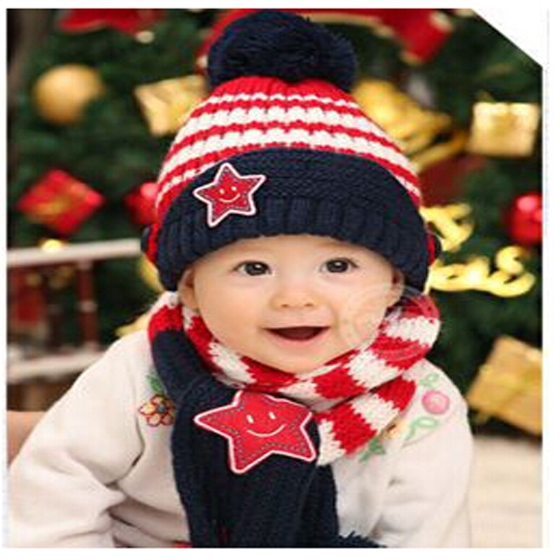 Fashion New Winter 5-Star Children Skullies & Beanies Scarf Hat Set Baby Boys Girls Knitted kids babyHats & Caps Free shipping baby skullies boys caps headwear chapeau beanies