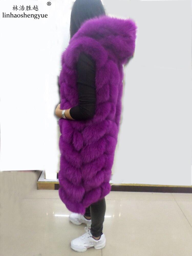 Linhaoshengyue le vrai gilet de fourrure de renard avec capuche longue 90 cm femmes réel gilet de fourrure de renard